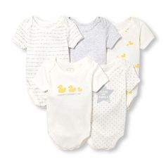 Unisex Baby Layette Short Sleeve Ducky Family Love Bodysuit 5-Pack