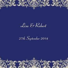 Bridal Lace Square Vertical Invitation in Navy - DreamDay Wedding Invitations