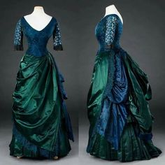 Peacock blue and emerald greendress