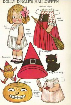VINTAGE DOLLY DINGLE HALLOWEEN PAPER DOLL - Drisfraz