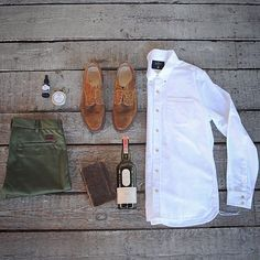 GENTLEMAN'S KIT: Freenote Olive Chinos & Classic Oxford, @brooklyngrooming Beard Oil & Balm, Alden shoes & Lagavulin Single Malt