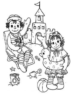 Raggedy Ann Coloring Printables | ... Raggedy Ann and Andy Raggedy Ann and Andy Making Sand Castle Coloring