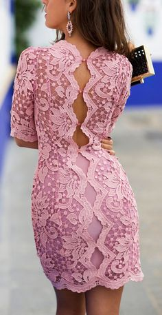 Spring 2015 Lace Dresses - Pink open back dress and accessories look.