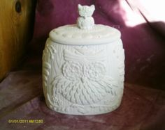 Byron Owl Cookie Jar / cannister ready to paint glazed inside