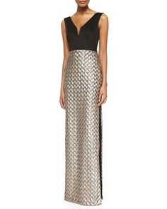 Black Halo Eve Briana Sequin-Skirt Combo Gown