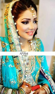teal Pakistani wedding dress, Makeup by ANAM