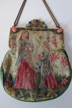 Antique Petit Point Jeweled Frame w Peking Glass Rhinestones | eBay