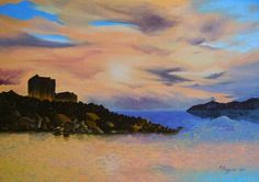 """....after the storm, the quite of a sweet sunset in Villasimius...  oil on canvas panel 25""""x35"""""""