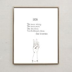 Shel Silverstein Poem, Sign (Hand Lettered Water Color Print)