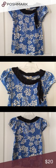 Rare Anthropologie Top Unique and rare. By Yellow Button. Very good condition. There is some fraying of the ribbons at the ends (see pic) but no other flaws to note and I think it looks cute that way. Anthropologie Tops