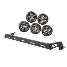 Hood Light Bar Kit, Textured Black, 5 Round LEDs, 07-15 Jeep Wrangler JK by Rugged Ridge