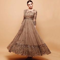 Grey Brown Anarkali with handwork embroidery.Comes with a belt and dupatta that can be styled in many ways. Indian Wedding Gowns, Indian Gowns Dresses, Indian Bridal Fashion, Indian Fashion Dresses, Indian Designer Outfits, Wedding Dress, Red Wedding, Bridal Dresses, Long Dress Design