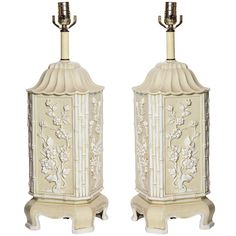 Hollywood Regency Italian Chinoiserie Ceramic Lamps, Pair | From a unique collection of antique and modern table lamps at http://www.1stdibs.com/furniture/lighting/table-lamps/