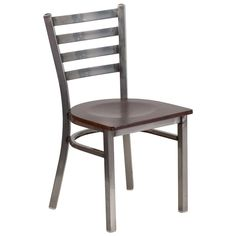 Clear-Coated Ladder Back Metal Restaurant Chair with Walnut Wood Seat