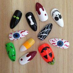 Halloween Stiletto nails, 24 mix and match false nails, Halloween design fake nails, long black nails