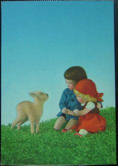 Vintage 1950s Kathe Kruse Dolls Gazing at A Lamb Postcard Käthe | eBay