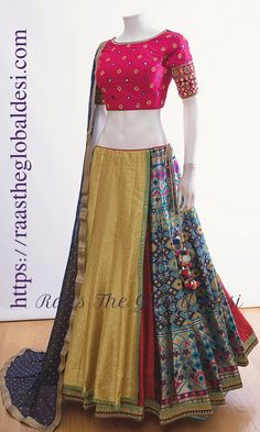 CHOLI-Raas The Global Desi-[wedding_lehengas]-[indian_dresses]-[gown_dress]-[indian_clothes]-[chaniya_cholis] Half Saree Designs, Choli Designs, Lehenga Designs, Saree Blouse Designs, Garba Dress, Navratri Dress, Lehnga Dress, Gown Dress, Dress Skirt