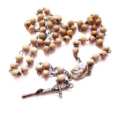Vintage Wood Rosary Bead Necklace