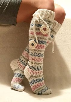 Hand knitted socks are great and in cold weather, wonderful gift for You and for. Wool Socks, Knitting Socks, Hand Knitting, Slouch Socks, Knit Leg Warmers, Knee High Socks, Sock Yarn, Knitting For Beginners, Women Legs