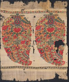 Shawl or Sash Fragment [Top and Bottom] Late 18th century Made in Kashmir, India, Goat fleece, 2/2 double-interlocked twill tapestry