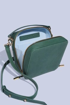 Manufacture Pascal, leather crossbody handbag, Lady Box in Sage with ice blue ultra suede lining, interior gusset. American vegetable tanned leather and handmade in New York. With a LOT OF LOVE