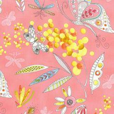 Michael Miller - Mimosa in Pink  -  Half Yard