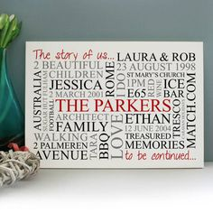 Personalised 'The Story Of Us' Family Print