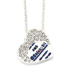 Star Wars Jewelry Silver Plated R2-D2 Heart in Genuine Crystals Pendant with Chain Necklace //Price: $48 & FREE Shipping // #starwarslife