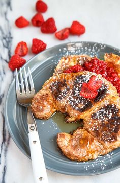 Raspberry caramel croissant french toast! Yum.