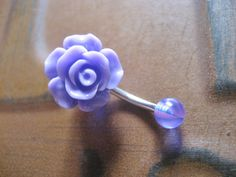 Purple Rose Belly Button Ring Jewelry Stud Navel Piercing Rosebud Flower Bud Bar Barbell. $15.00, via Etsy.