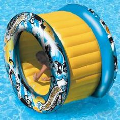 Awesome toys for kids Aqua Roller inflatable swimming pool float. Unique pool toy is a giant wheel that can be rolled on the swimming pool water surface for hours of fun. Swimming pool toys and floats from In The Swim.