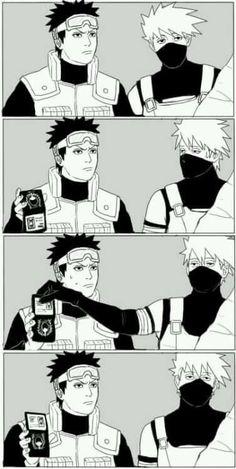Kakashi and Obito have a Supernatural moment Naruto Naruto Uzumaki Shippuden, Naruto Kakashi, Anime Naruto, Naruto Shippuden Characters, Naruto Cute, Otaku Anime, Sasunaru, Madara Uchiha, Hinata