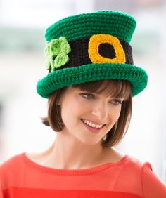 St. Patrick's Day Chapeau Crochet Pattern | Red Heart.  I have to make one of these.  Too cute.