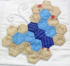 butterfly hexi block (photo only)  #quilting #blocks #hexagons #butterfly_block