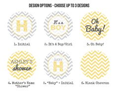 Chevron Baby Shower Cupcake Toppers by SnailMailDesignShop on Etsy