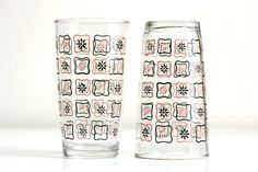 Vintage Pink and Black Flower Glasses  Set of Eight by WiseApple, $30.00