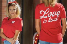 Love is Kind Tee T-shirt soft graphic design faith Christian festive Valentine's Day women's fashion look outfit trend style Thing 1, Christian Clothing, Order Prints, Casual Outfits, Fashion Looks, T Shirts For Women, Trending Outfits, Tees, Model