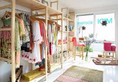 """DL's Closet-Coaching Note: """"Are you finding comfort in this Natural style Closet type? What role does nature play in your life? Clothing Boutique Interior, Boutique Interior Design, Boutique Decor, Small Boutique Ideas, Fashion Store Display, Deco Boheme, Shop Interiors, Kids Store, Retail Design"""