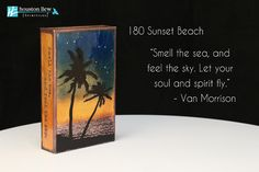 """NEW Houston Llew Spiritiles 180 Sunset Beach, the story on the sides reads: """"Smell the sea, and feel the sky. Let your soul and spirit fly."""" - Van Morrison"""