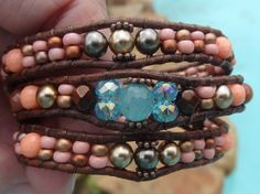 Lovely Coral/Bronze and Gold Wrap Bracelet by TheBohemianWrapsody
