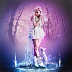 White Magic by ED-Creations on DeviantArt Dark Fantasy Art, Fantasy Women, Swimwear 2015, Basara, White Magic, Sirius Black, Animals Images, Girl Cartoon, Black Art