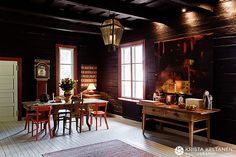 Traditional Finnish farmhouse with modern interior and inspiration from traditional interior