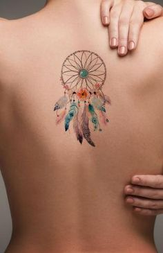 Watercolor Dreamcatcher Back Tattoo ideas for Women - Popular Feminine Beautiful. - Watercolor Dreamcatcher Back Tattoo ideas for Women – Popular Feminine Beautiful Small Spine Tat - Bild Tattoos, Neue Tattoos, Body Art Tattoos, Sleeve Tattoos, Arabic Tattoos, Symbols Tattoos, Tribal Tattoos, Vintage Tattoos, Tattoo Son