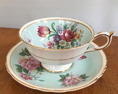 Vintage China Superb Vintage Aynsley England Fine Bone China Green with Vintage Dishes, Vintage China, Vintage Tea, Cup And Saucer Set, Tea Cup Saucer, Tea Cups, Royal Tea, Teapots And Cups, My Cup Of Tea