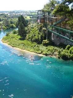 Taupo Bungee in NZ. Scary as hell but oh so worth it ! Highest water touch bungee in NZ at 47m.