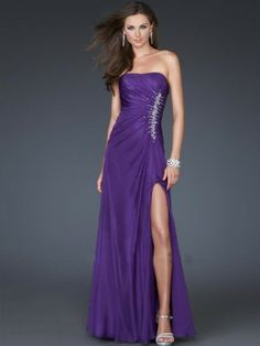 Sheath / Column Strapless Beading  Sleeveless Floor-length Chiffon Grape Prom Dress / Evening Dress
