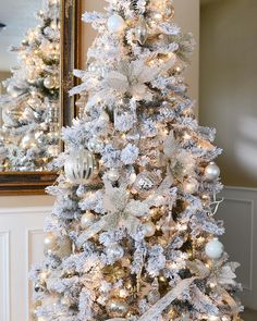 There are numerous Christmas tree owners that choose to style their Christmas trees by having whatever a particular color. There are numerous Christmas tree owners that choose to style their Christmas trees by having whatever a particular color. Flocked Christmas Trees Decorated, Frosted Christmas Tree, Elegant Christmas Trees, Silver Christmas Tree, Christmas Mantels, Christmas Love, Xmas Tree, Christmas 2019, Small White Christmas Tree