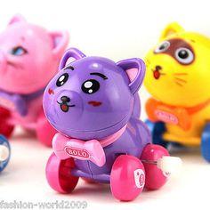 Children Kids Funny Plastic Zoo Wild Animal Clockwork Wind Up Toy Gift-Cat