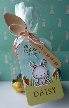 Easter Tag - Mama Elephant Carnival cupcakes, Just Hatched and Honey Bunny. WMS Spring Baskets and Lawn Fawn Grassy Border and Tag you're it die