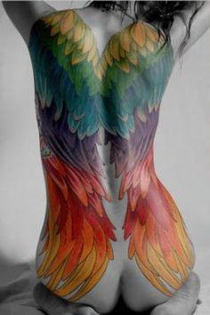 Large coloured wings tattoo for girls